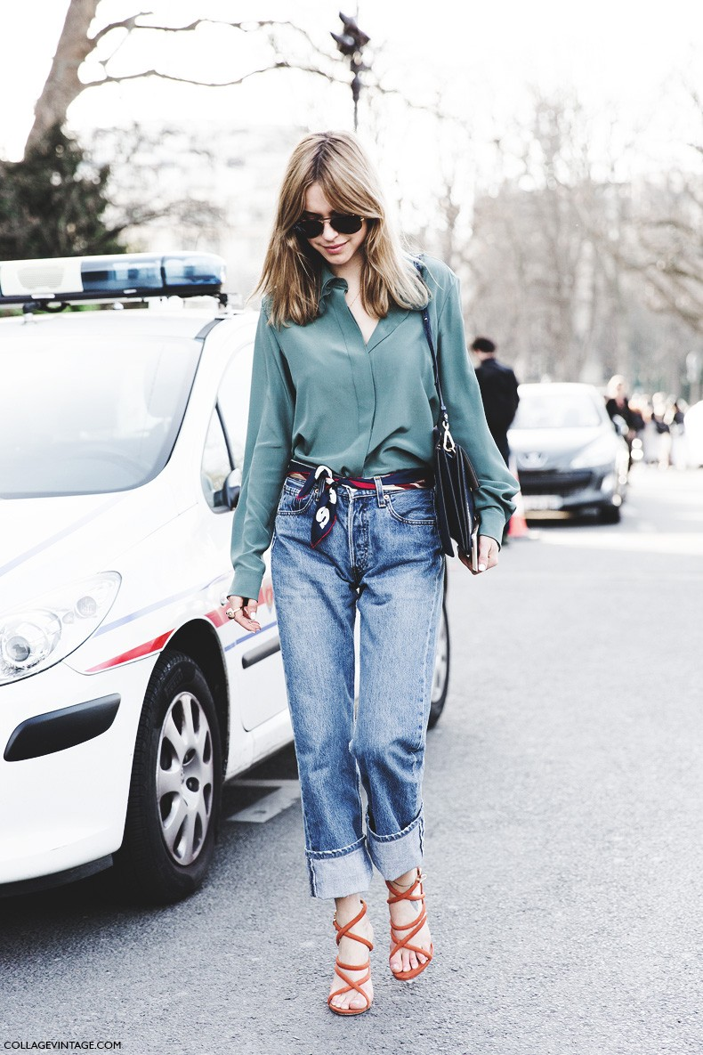 Paris_Fashion_Week-Fall_Winter_2015-Street_Style-PFW-Look_De_Pernille-Chloe_Bag-Scarf_As_Belt-LEvis_Jeans-4-790x1185