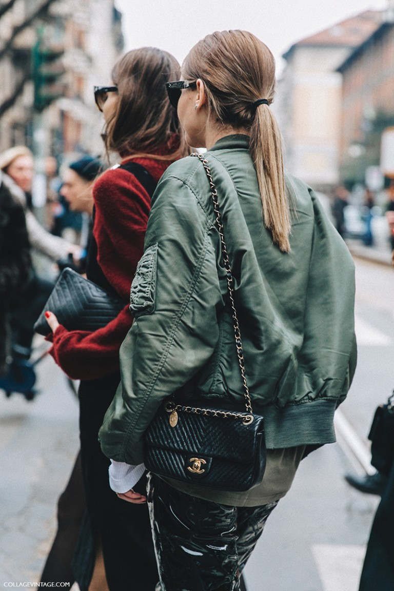 Milan_Fashion_Week_Fall_16-MFW-Street_Style-Collage_Vintage-Chiara_Capitini-Giorgia_Tordini-Bomber_Jacket-Chanel_Bag-