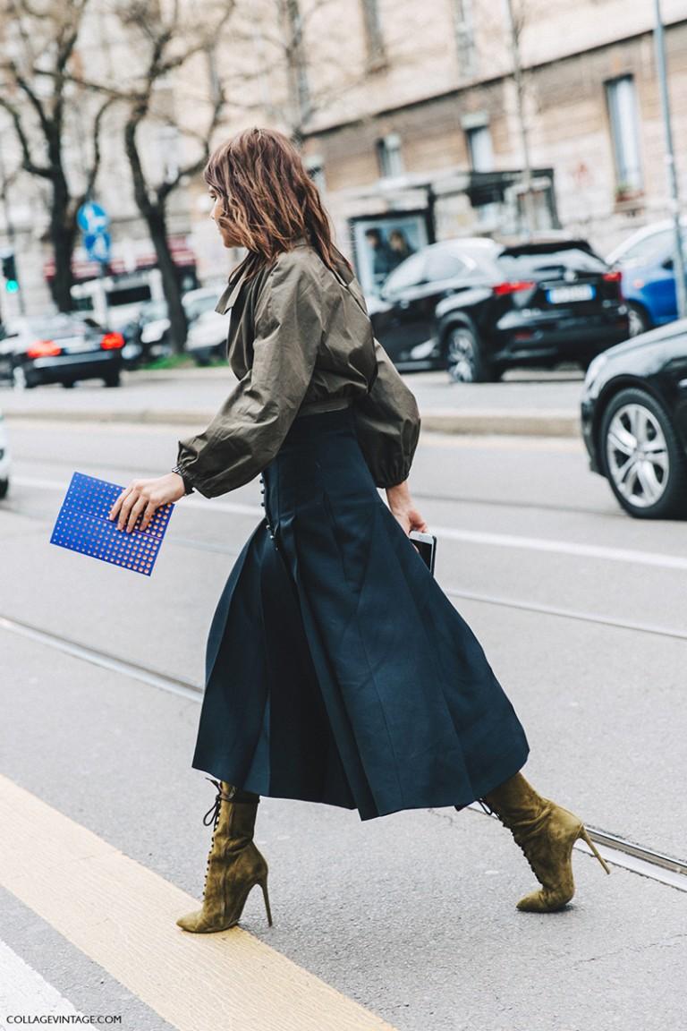 Milan_Fashion_Week_Fall_16-MFW-Street_Style-Collage_Vintage-Christine_Centenera-Bomber-Midi_Skirt-Lace_Up_Boots-1